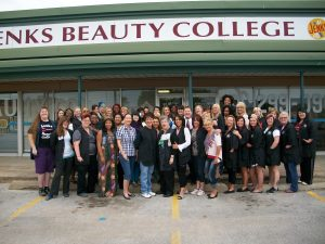 students and staff of jenks beauty college